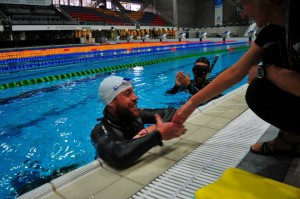 Lewis being congratulated after his impressive DYN performance