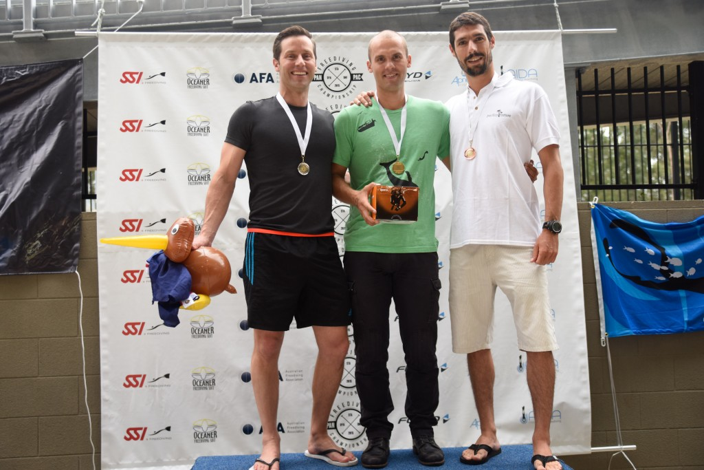 Men's static apnea: Ant Williams (NZL, 2nd), Alexey Molchanov (RUS, 1st), Pierre Crubille (New Caledonia, 3rd).