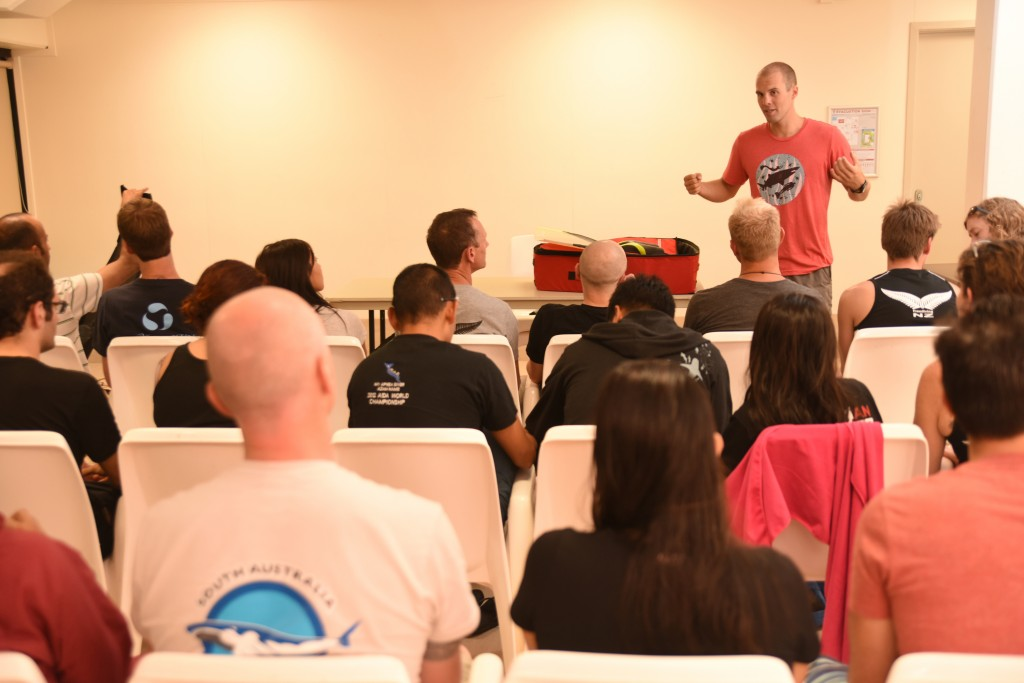 Alexey Mochanov during his workshop on Freediving equipment. One of the many workshops and presentations put on as part of the Pan Pacific Freediving Championships.